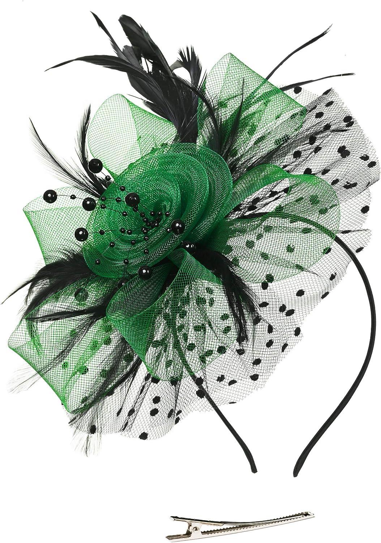 Color Rose Red MOPOLIS Flower Feather Fascinator Net Hair Clip Wedding Women Races Tea Party Church Hat