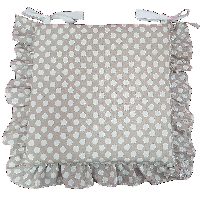 Set 6 cuscini Beige pois bianco, con volant 40x40 spessore 5 cm ...