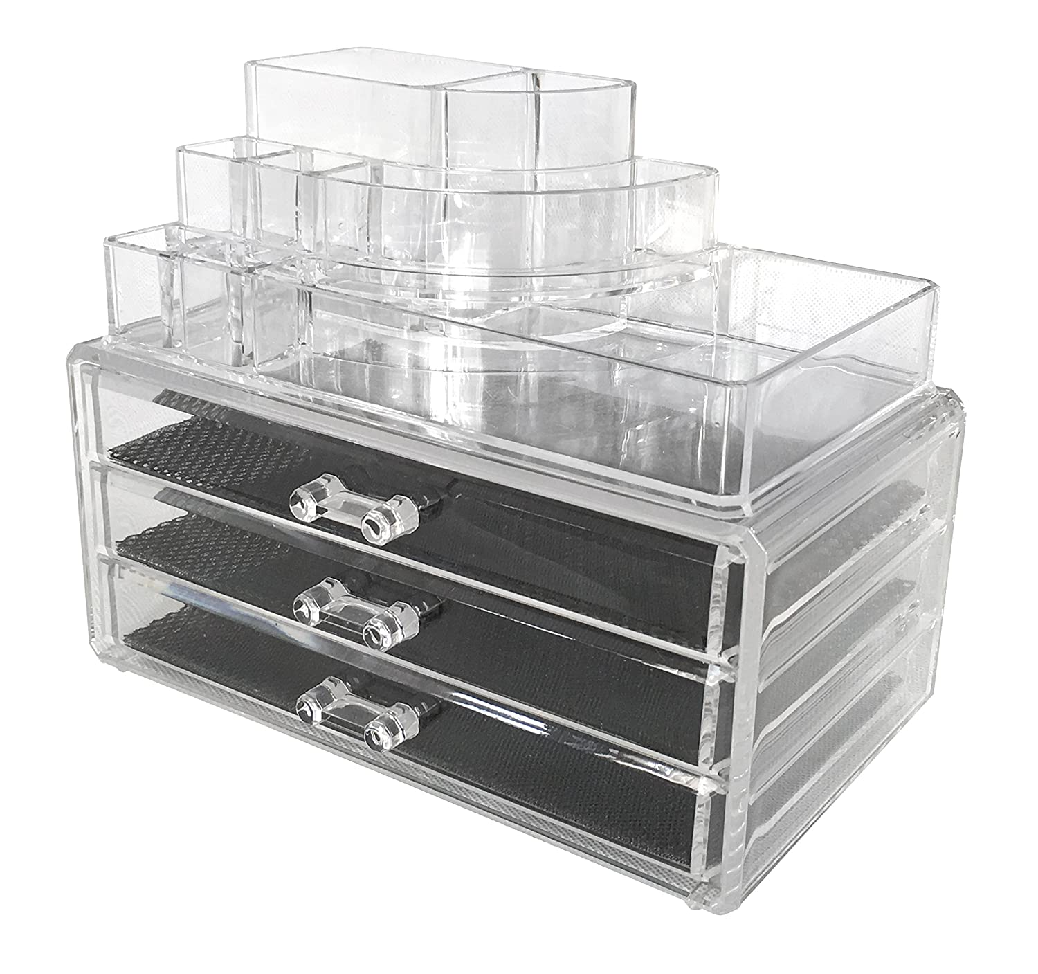 Superior Amazon.com: Sodynee Acrylic Makeup Organizer Cosmetic Organizer Jewelry And Cosmetic  Storage Display Boxes Two Pieces Set(3 Drawer Makeup Storage + Lipstick ...