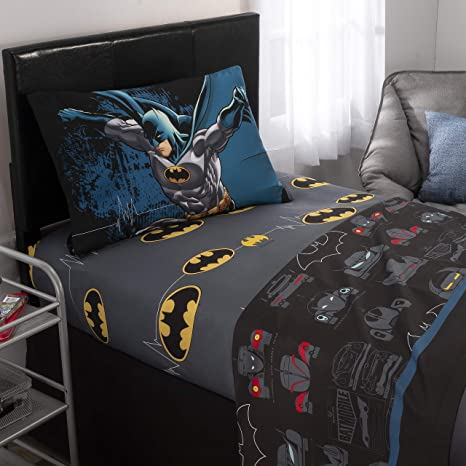 DC Comics Batman Kids Bedding Soft Microfiber Sheet Set, Twin Size 3 Piece  Set