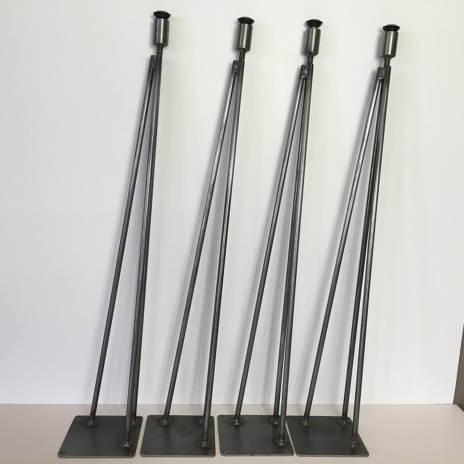 Amazon.com: Hairpin Leg, Metal Table Leg Set Of 4 Modern Industrial 3 Rod  Hairpin Leg Base   Raw Steel   16 Inch High To 40 Inch High   SHIPS FREE  WITHIN 48 ...