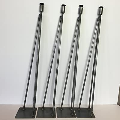 Hairpin Leg, Metal Table Leg Set of 4 Modern Industrial 3-Rod Hairpin Leg Base - Raw Steel - 16 inch high to 40 inch high - SHIPS FREE WITHIN 48 Hrs