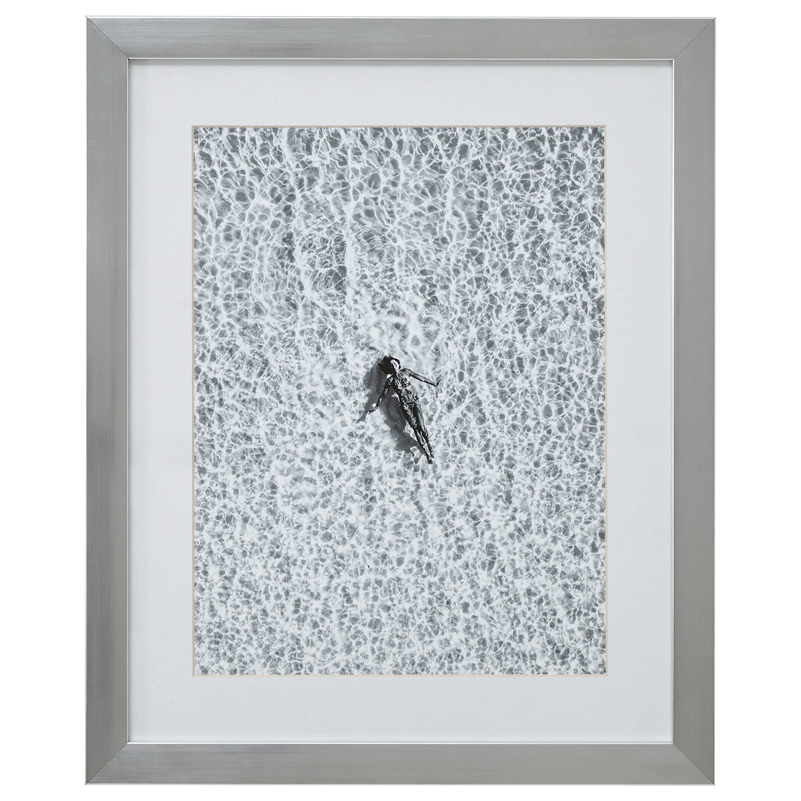 Modern Black and White Floating Woman, Silver Frame, 18'' x 22''