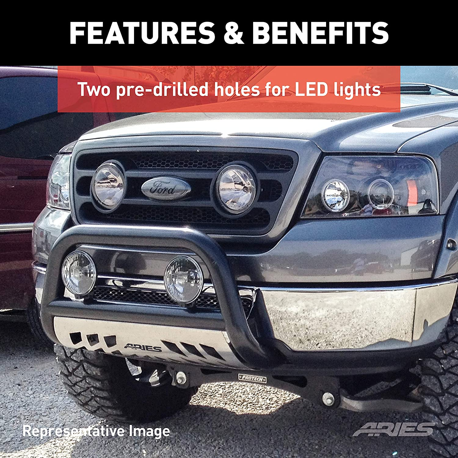 ARIES 35-2000 3-Inch Polished Stainless Steel Bull Bar Select Toyota Tacoma