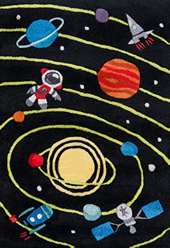 Momeni Rugs Lil Mo Whimsy Collection, Kids Themed Hand Carved Tufted Area Rug, 2 x 3 , Outer Space Black