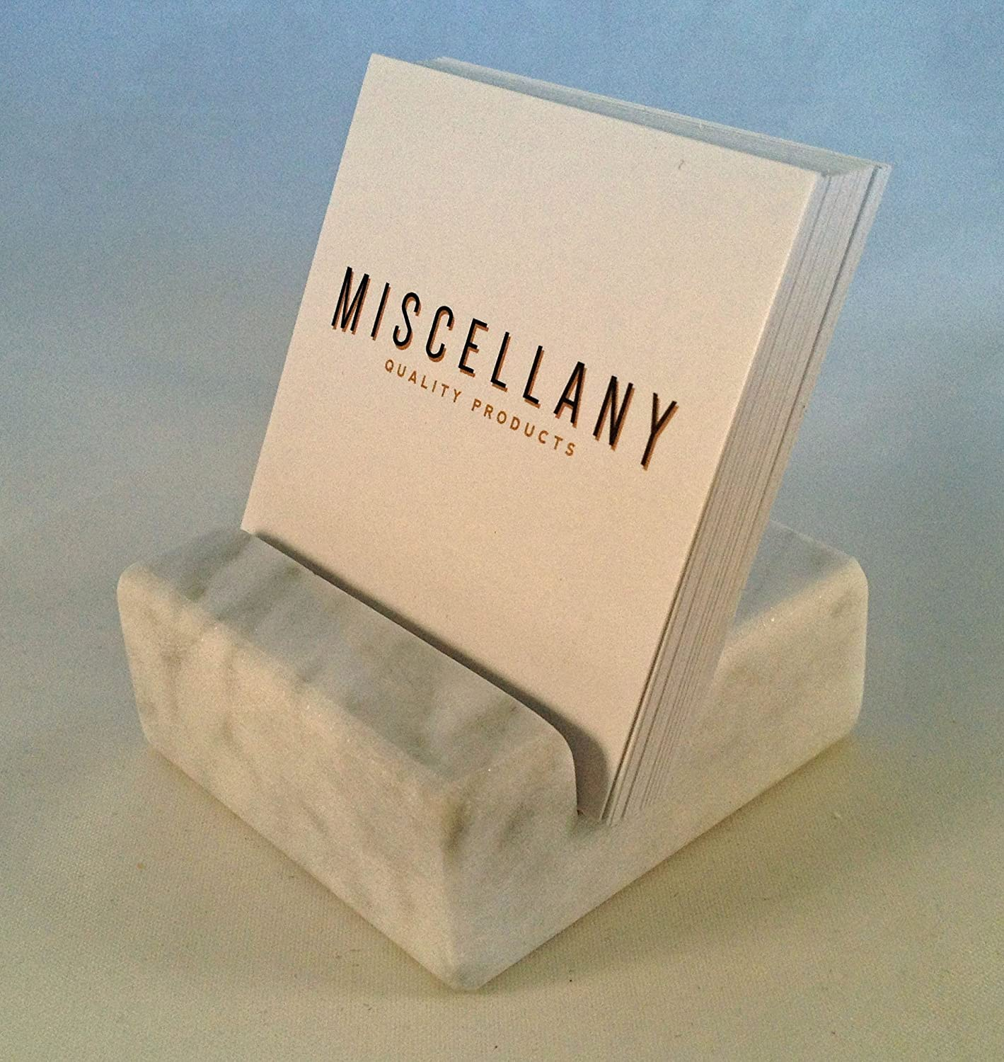 Amazon.com: Miscellany Square Business Card Holder White Carrara ...