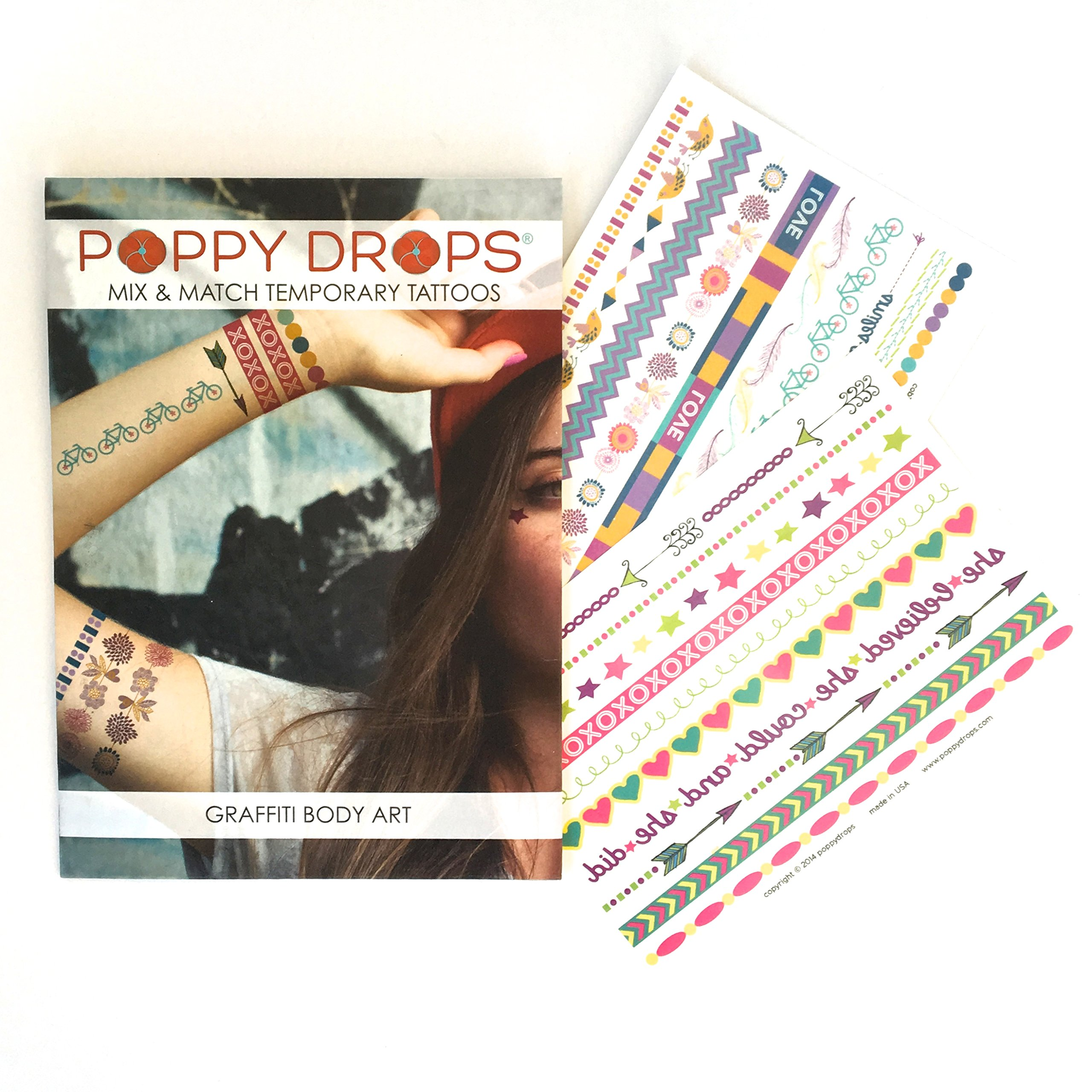 3 Pack Temporary Tattoo Packaged Sets - Express Yourself, Earring Starter & Graffitti Body Art Sets Included by Poppy Drops (Image #3)