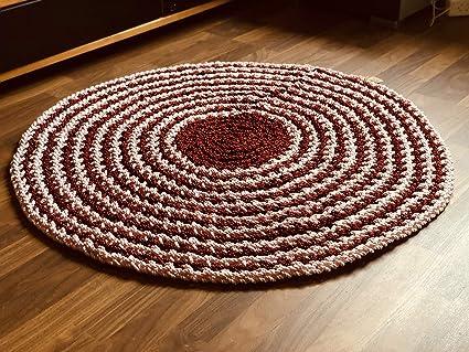 Maison Zoe Lourd Tapis Au Crochet Rond O120cm Rouge Rose 100 Fait Main Conception A Deux Tons Tapis Amazon Fr Cuisine Maison