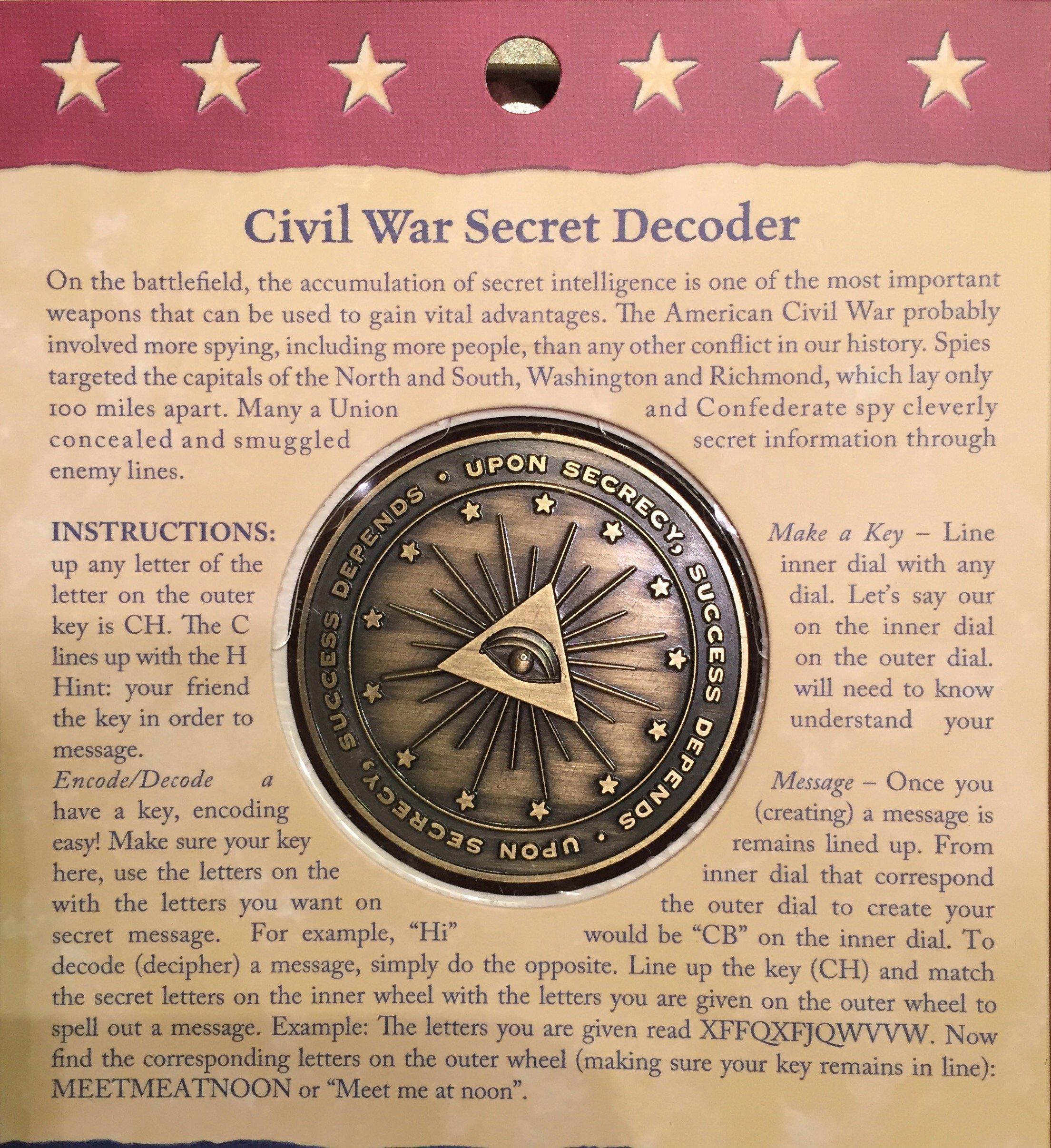 Civil War Spy Secret Decoder Decipher Wheel by Design Master