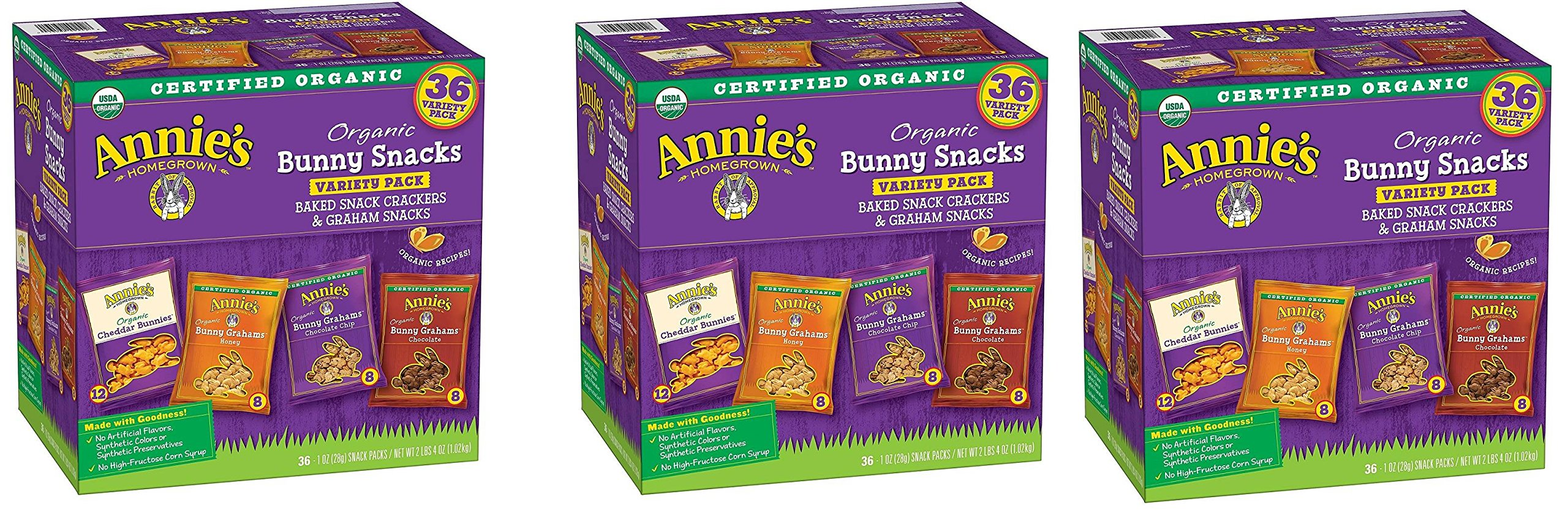 Annies Organic Variety Pack, Cheddar Bunnies and Bunny Graham Crackers Snack Packs, 36 Pouches, 1 oz Each GpbDVV, 3 Pack by Annie's Homegrown