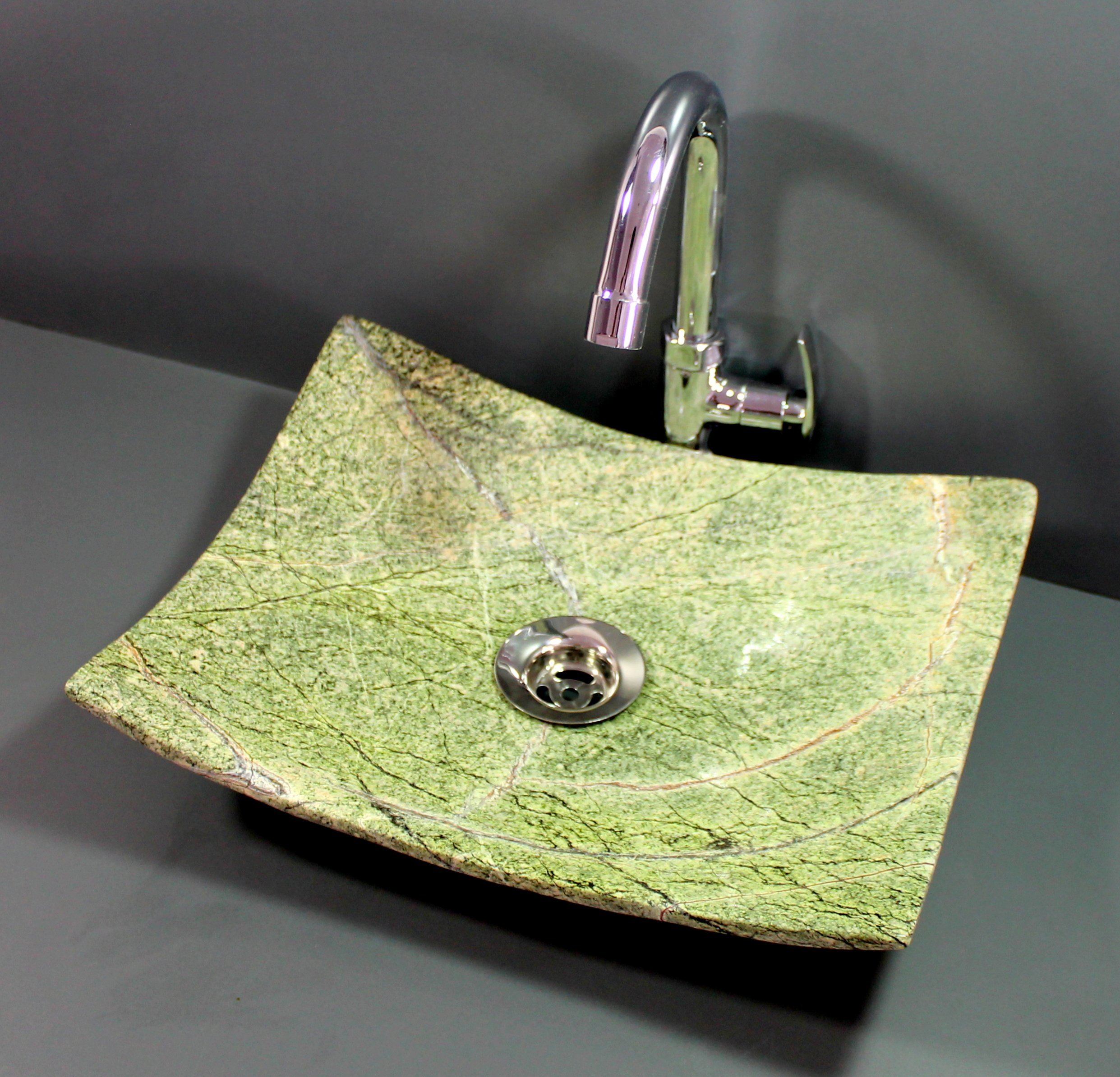 KLEO Luxury Natural Green Stone Desk Top Wash Basin/ Washbowl / Sink/ Washstand (11''x13'') by KLEO