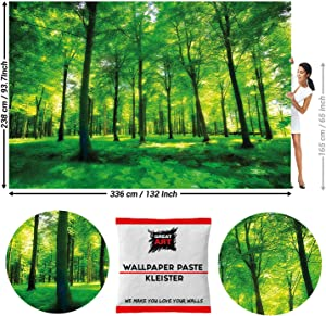 GREAT ART Photo Wallpaper Green Forest 132.3x93.7in / 336x238cm – Summer Landscape Nature Image Trees Branches Stroll Walk Garden Sunbeams Mural – 8 Pieces Includes Paste