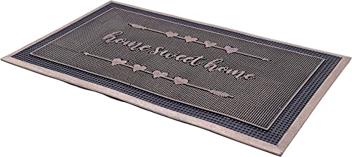 Fab Habitat Home Sweet Home Gold Painted Doormat 18 x 30 Rubber, Durable