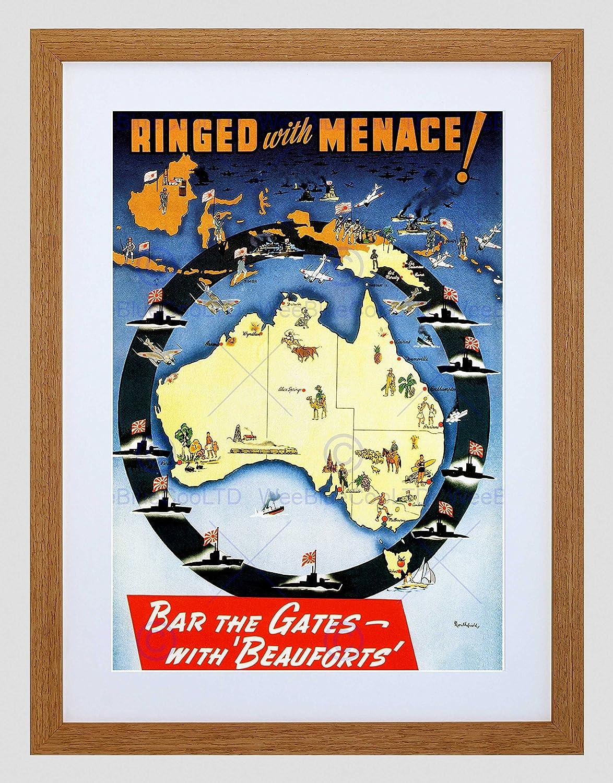 Ad Beaufort Fighter avión japonés Subs Guerra Australia mapa ...