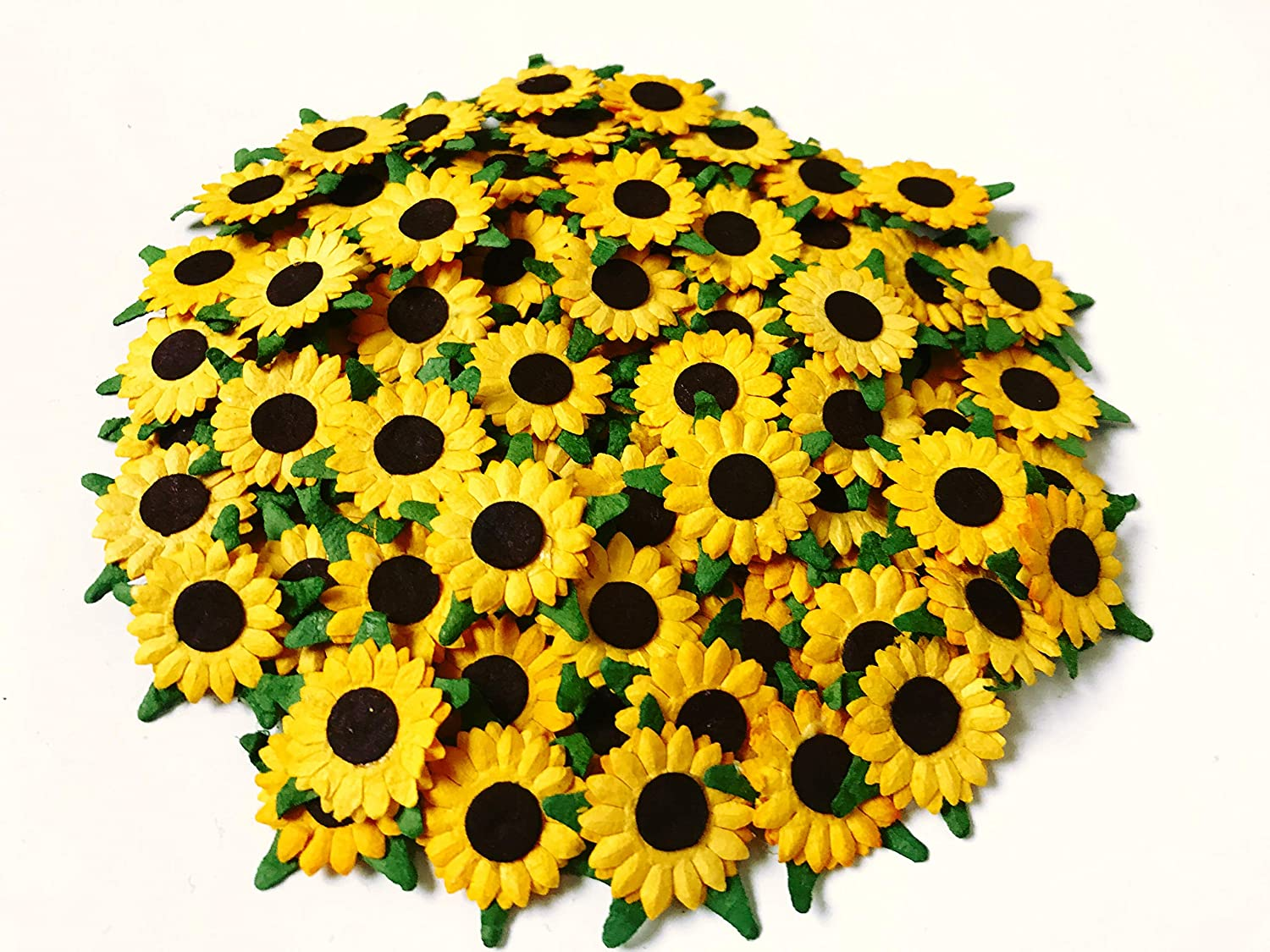 TH 50 pcs. Sunflowers Mulberry Paper Craft Supplies Scrapbook Card Flower Embellishments 20 mm. for so Many Card Craft Projects