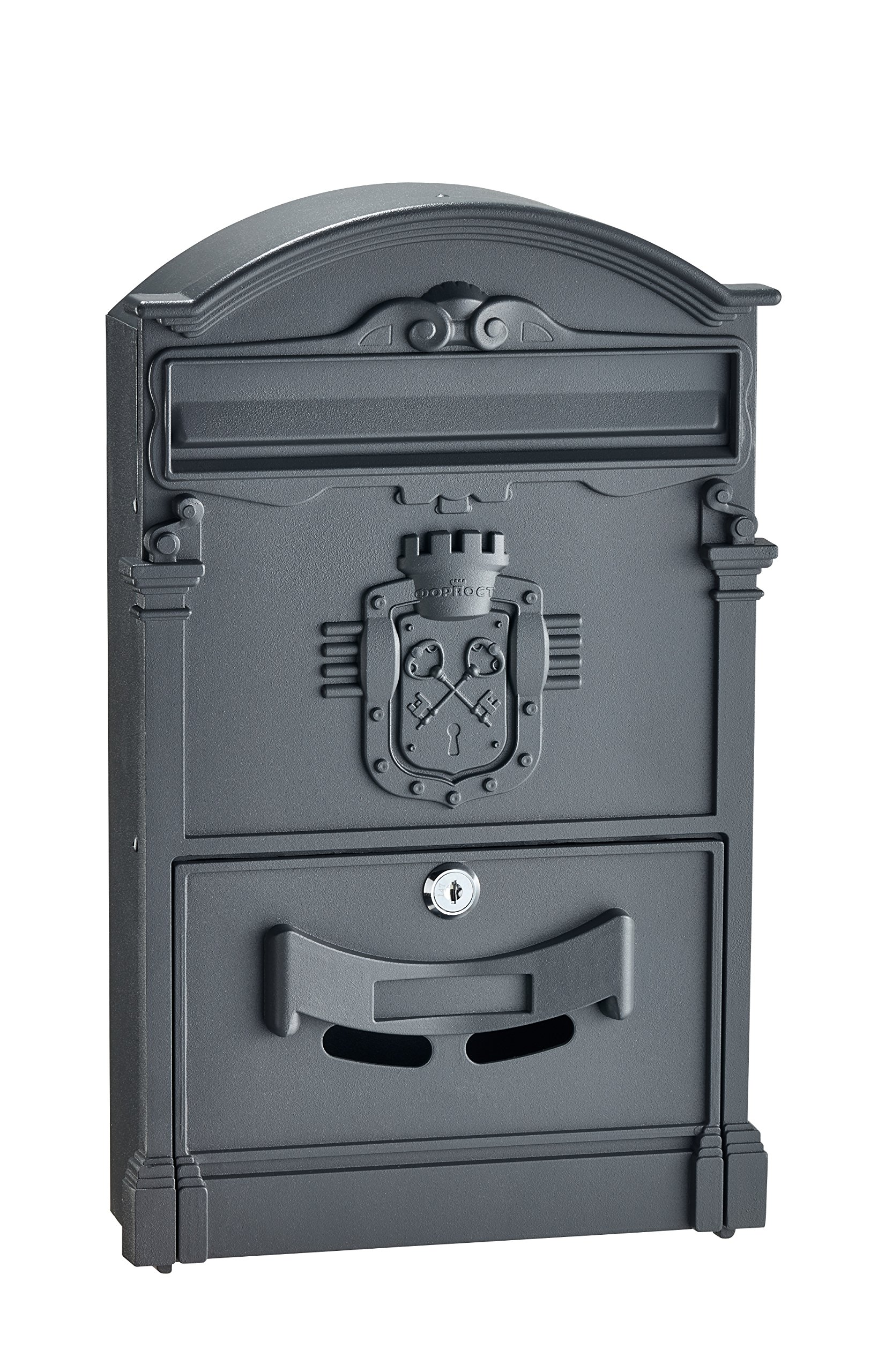 AdirHome Black Steel Ancient Castle Mailbox