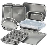 Circulon Total Nonstick Bakeware Set with Nonstick Bread Pan, Cookie Sheet, Baking Pan, Baking Sheet, Cake Pan and Muffin/Cupcake Pan - 10 Piece, Gray