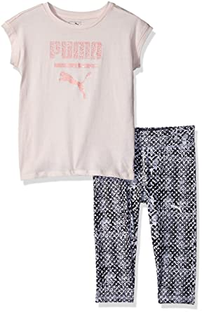 00981a0ee9d0f6 Puma Baby Girls 2 Piece Tee and Capri Set  Amazon.in  Clothing   Accessories