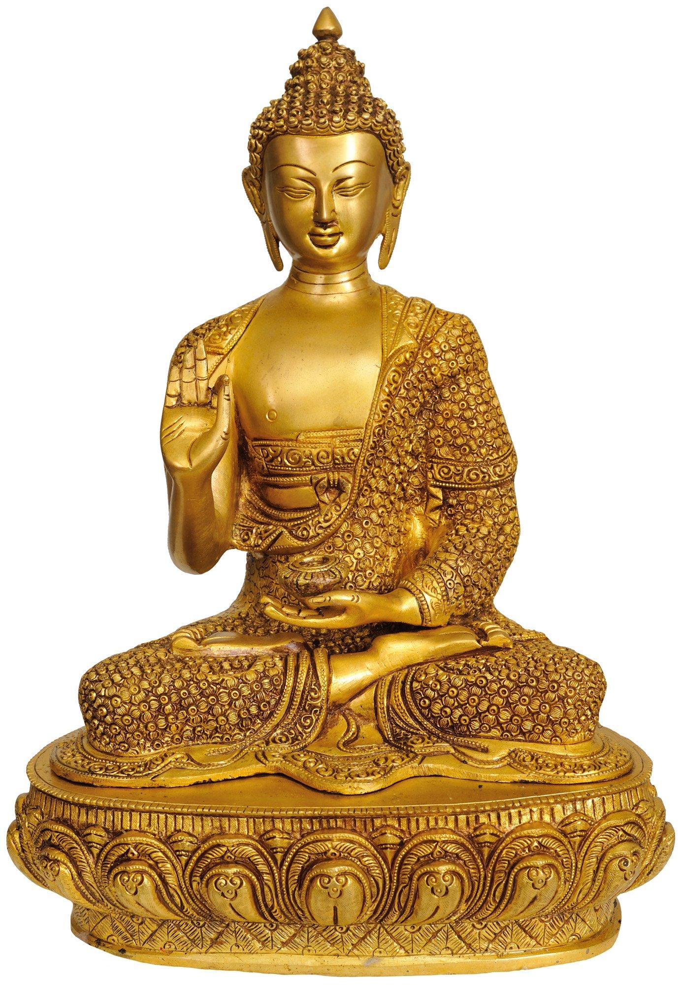Exotic India ZBT77 Shakyamuni Buddha in Teaching Mudra with Lotus on His Garment & Om Mani Padme Hum on Reverse