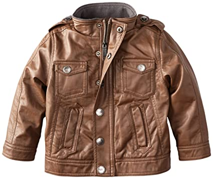 Amazon.com: Urban Republic Little Boys' Faux Leather Jacket, Brown ...