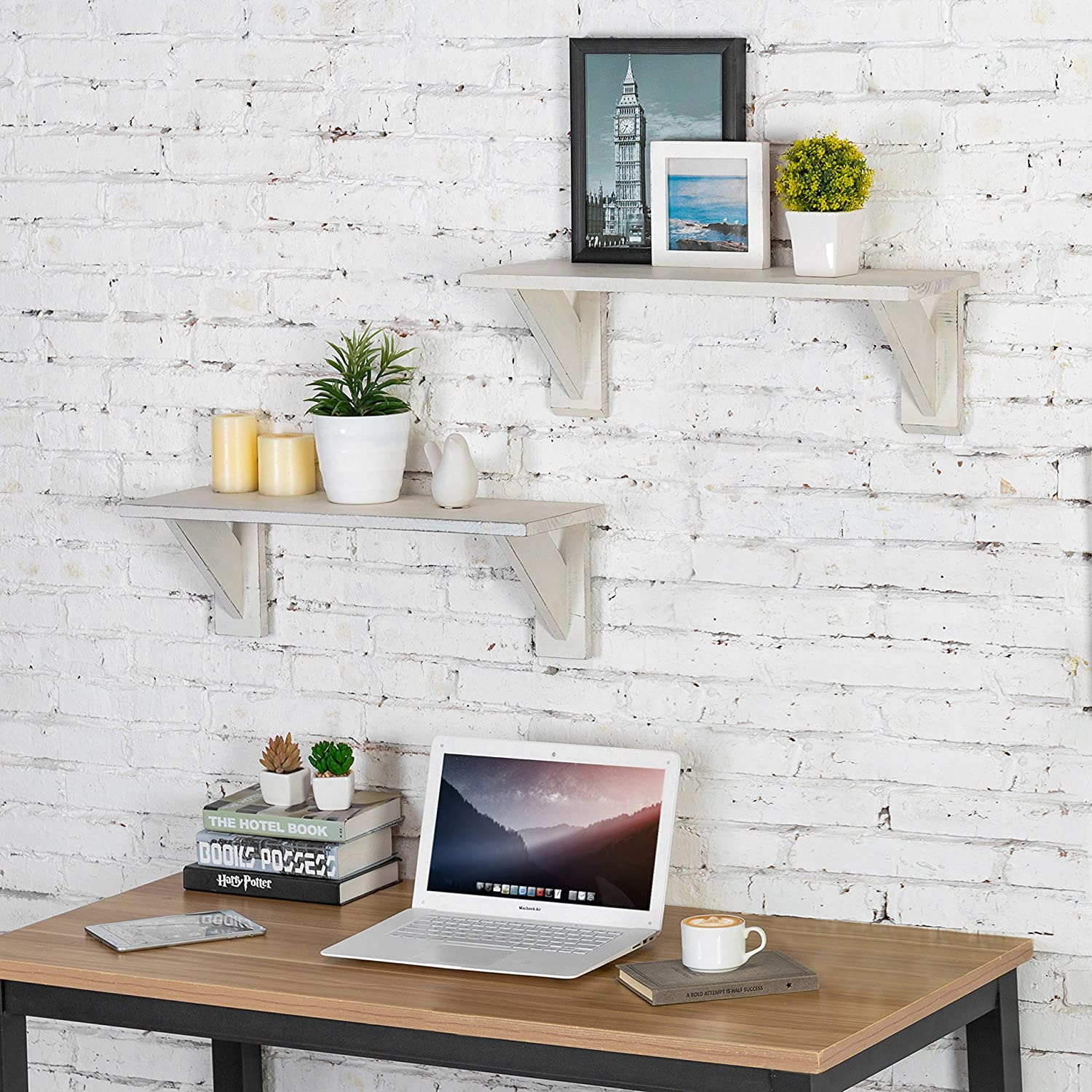 Set of 2 MyGift 24-Inch Vintage White Wood Wall-Mounted Shelves