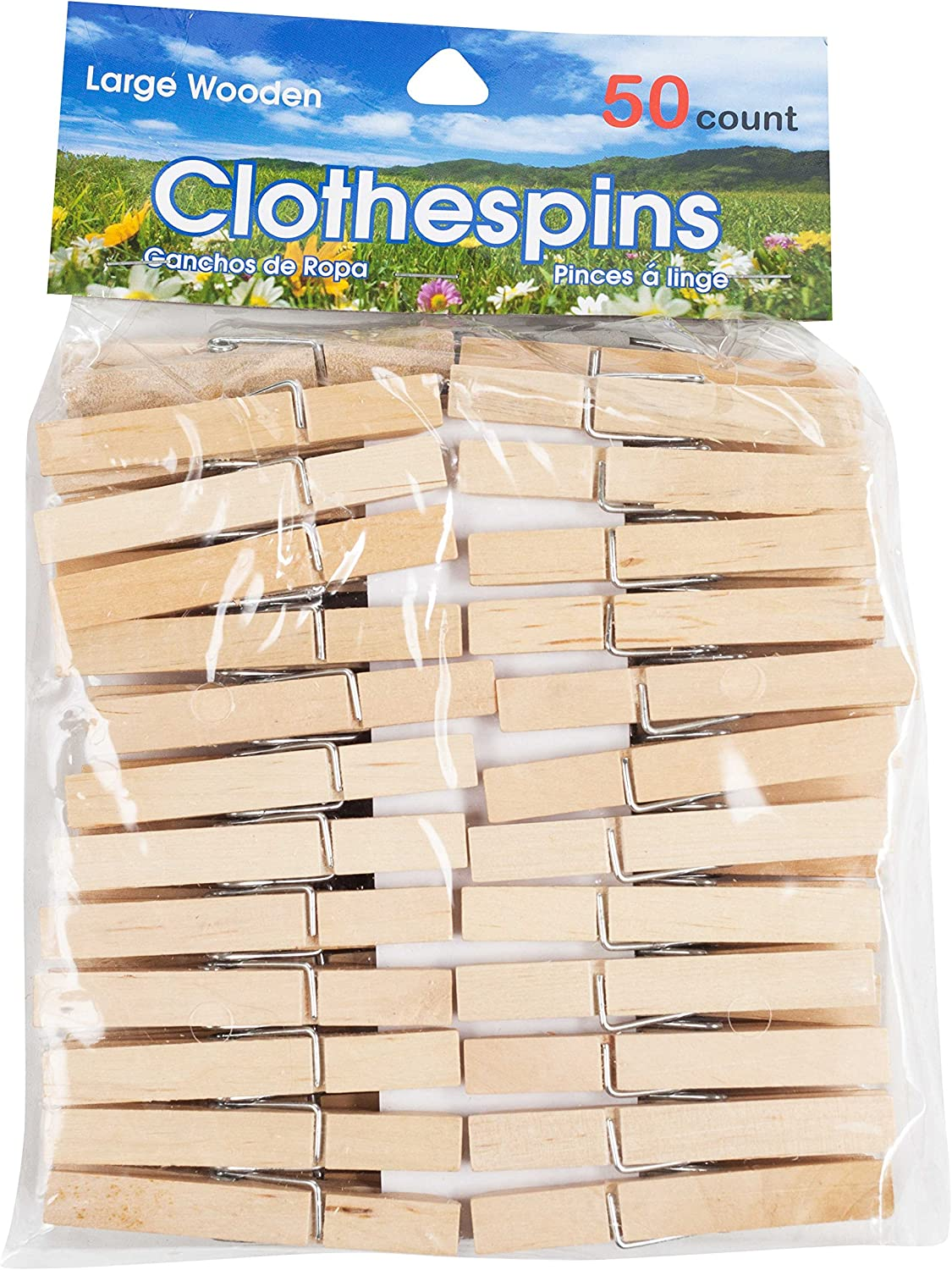 Brite Concepts Large Wooden Clothespins (50 Count): 2 Pack