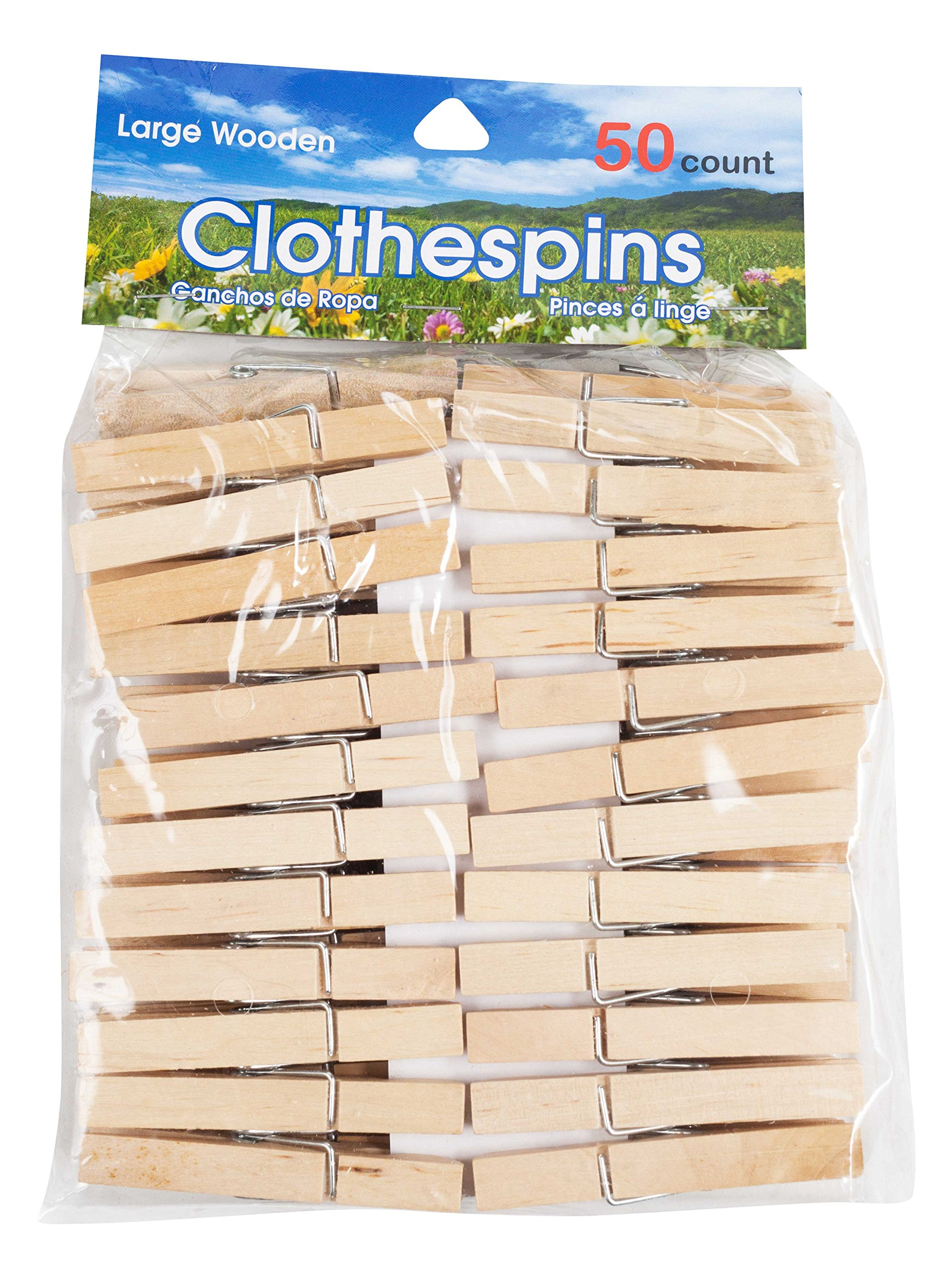 Brite Concepts Large Wooden Clothespins, 50 Count, 2-pack (100 Clothespins)