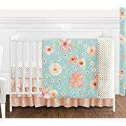 Sweet JoJo Designs Turquoise and Peach Shabby Chic Watercolor Floral Baby Girl Crib Bedding Set Without Bumper - 4 Pieces - Pink Rose Flower Polka Dot