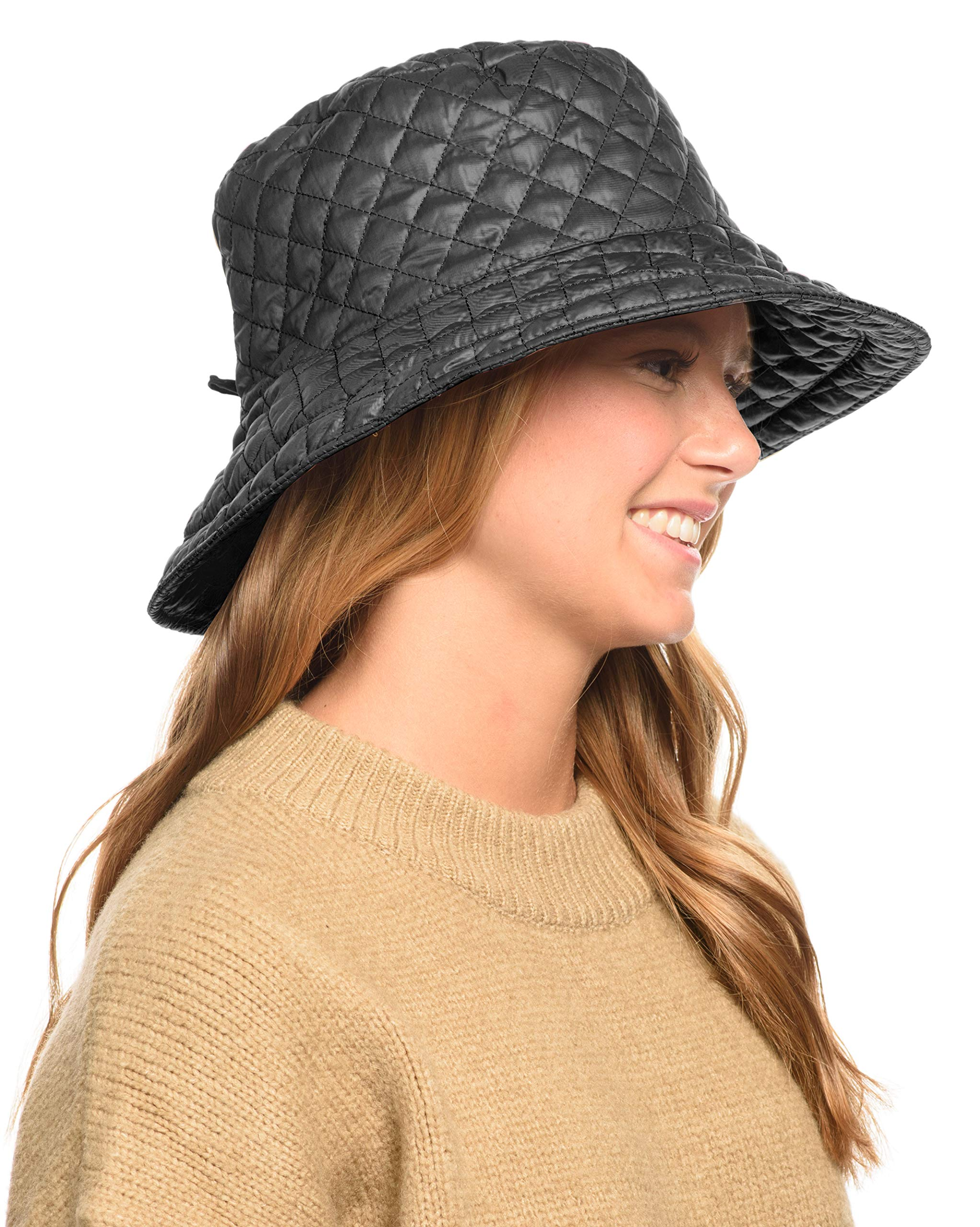 ANGELA & WILLIAM Foldable Water Repellent Quilted Rain Hat w/Adjustable Drawstring, Bucket Cap (Gray)