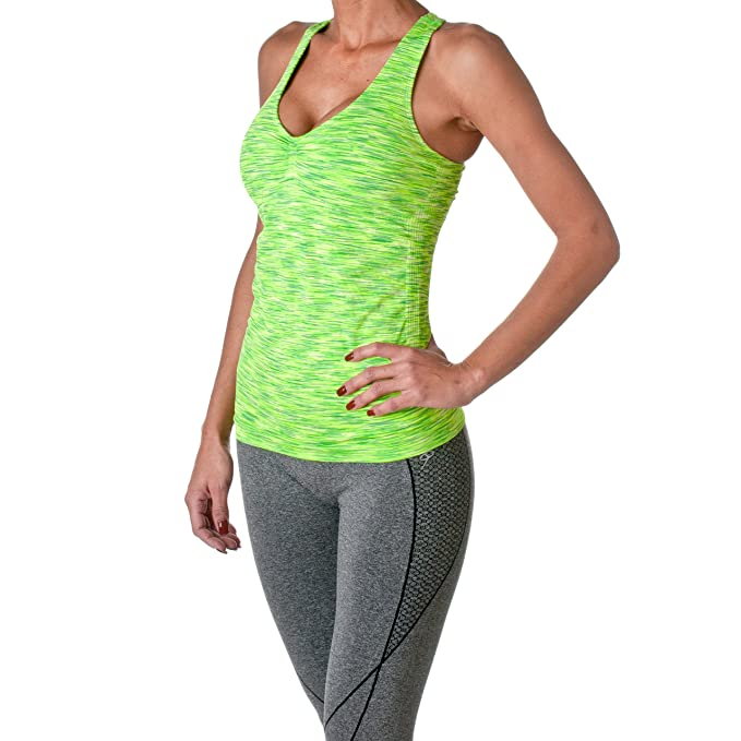 12c5ad66d Amazon.com  Riverberry Womens Actives Racerback Yoga Workout Exercise Top  with Built-in Shelf Bra  Clothing