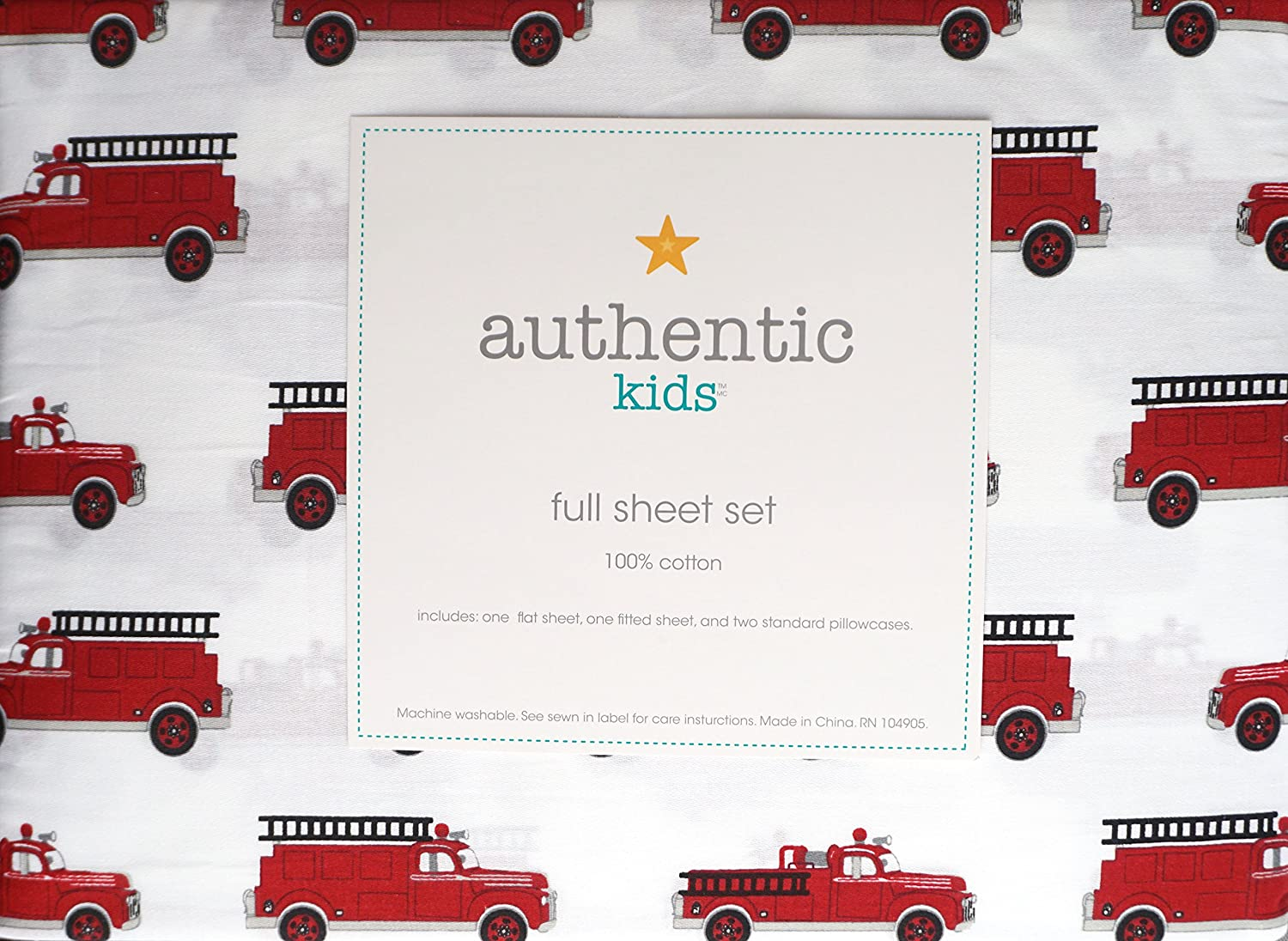 Vintage Red Antique Fire Trucks with Ladders on White Authentic Kids 4 Piece Full Size Cotton Sheet Set