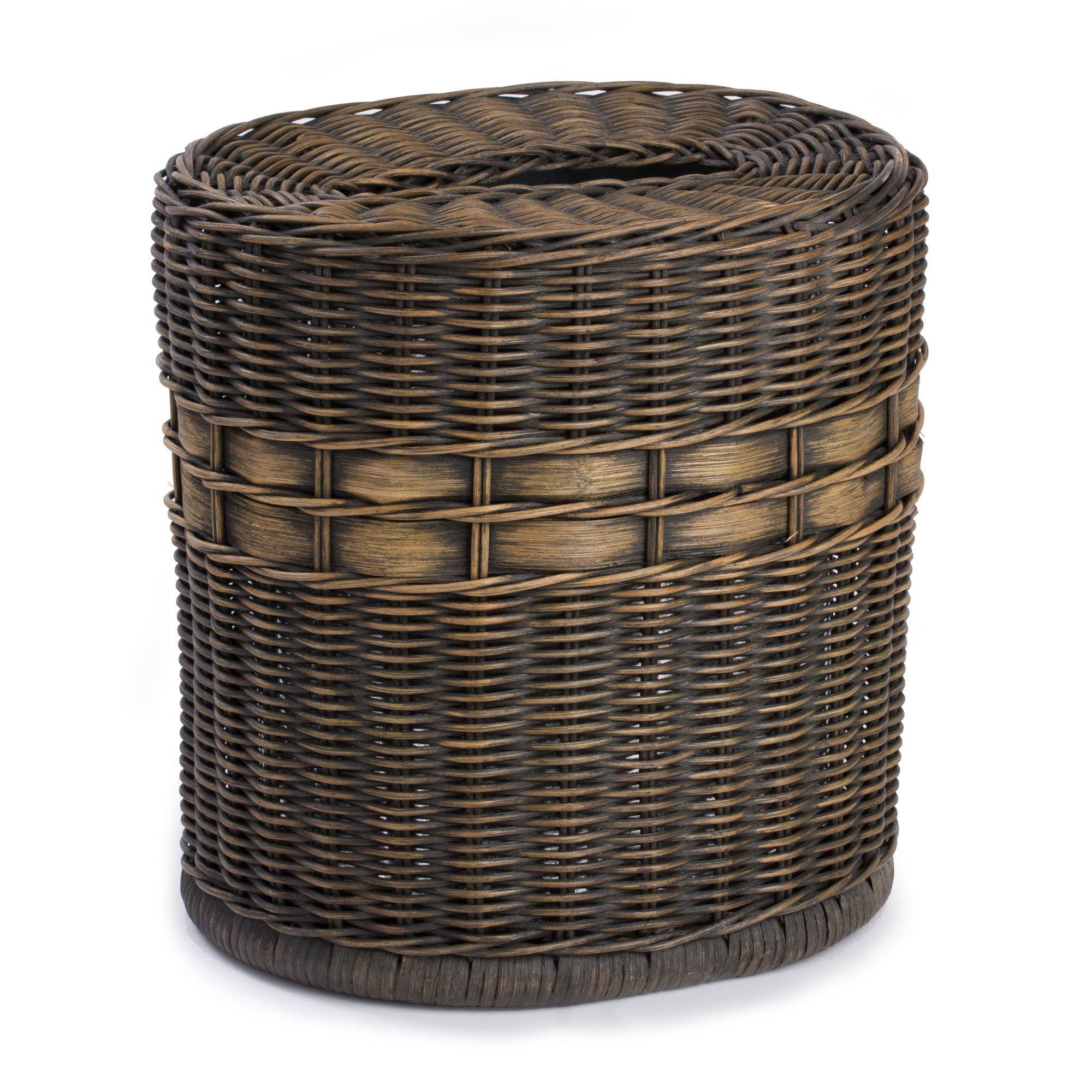 The Basket Lady Drop-in Oval Wicker Waste Basket with Removable Metal Liner, 12 in L x 9.5 in W x 12 in H, Antique Walnut Brown by The Basket Lady