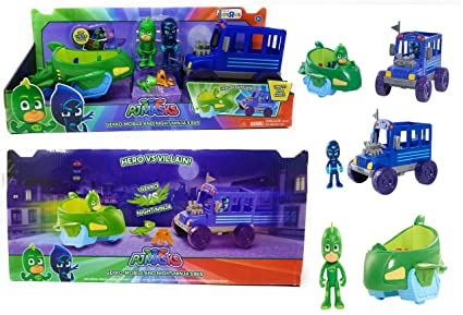 EXCLUSIVE PJ Masks - Gekko Mobile and Night Ninjas Bus Vehicle Set - Set Comes with