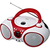 Jensen CD Boombox CD-490 White/Red Portable Stereo Boombox + CD-R/RW Player with AM/FM Radio and Aux Line-In (Limited…