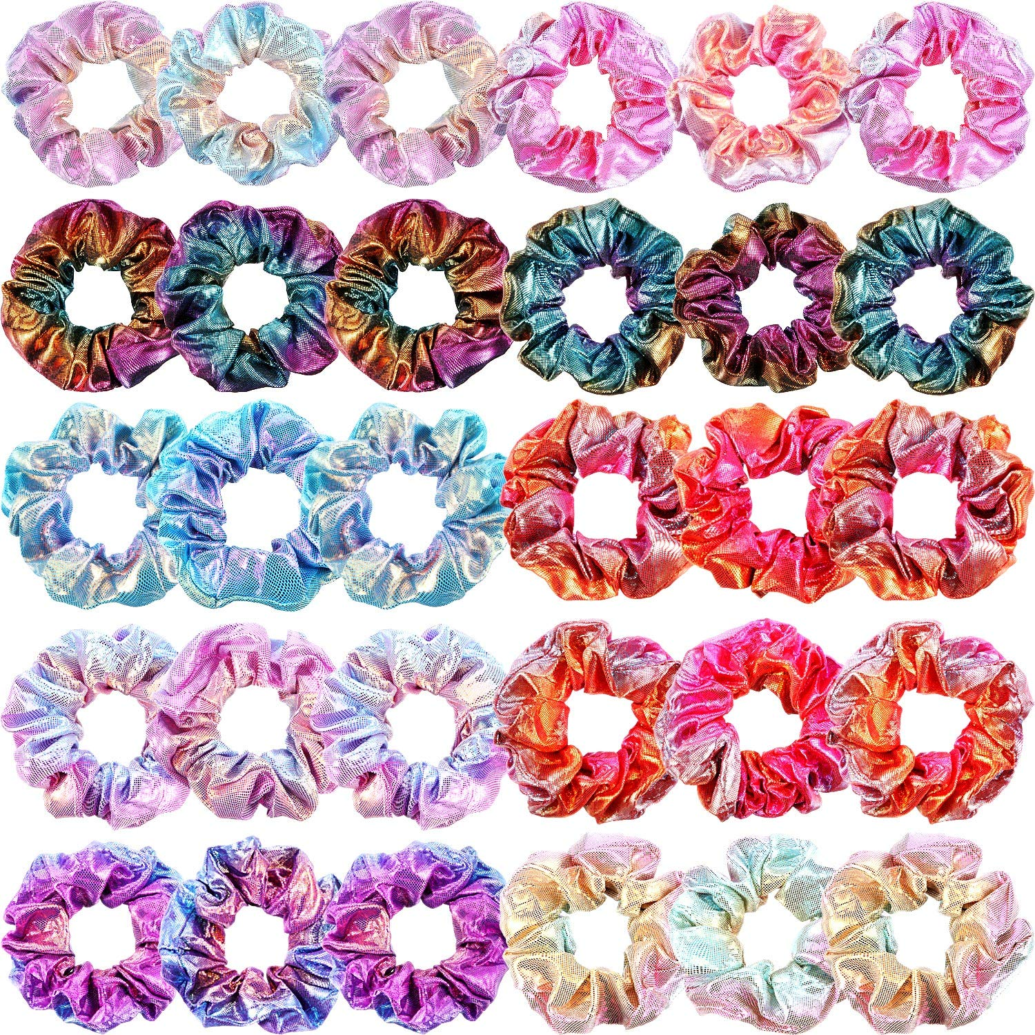 30 Pieces Metallic Scrunchies Shiny Elastic Hair Bands Scrunchy Gradient Mermaid Colors Hair Ties Ropes for Women Girls Hair, 10 Colors 2 Sides in Different Color by WILLBOND