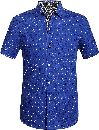 SSLR Camisa Manga Corta de Algodón Estampado de Pipas Casual para Hombre: Amazon.es: Ropa y accesorios