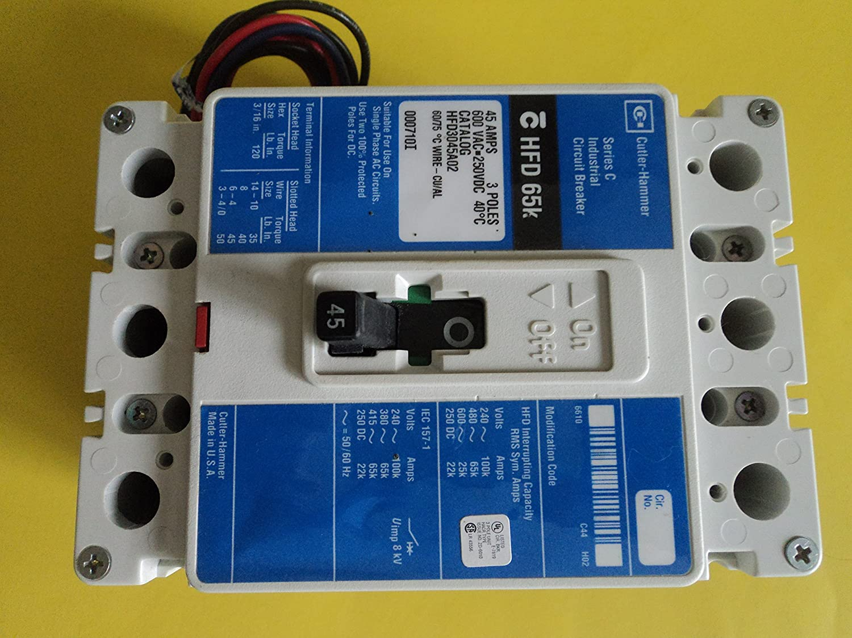 Cutler-Hammer Circuit Breaker HFD3045 45 Amp 600 Volt 3 Pole