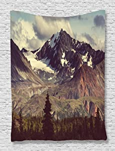 Ambesonne Alaska Mountains Tapestry, Arctic Landscape Hiking Alaska Mountains Scenery in USA Wilderness, Wall Hanging for Bedroom Living Room Dorm Decor, 40