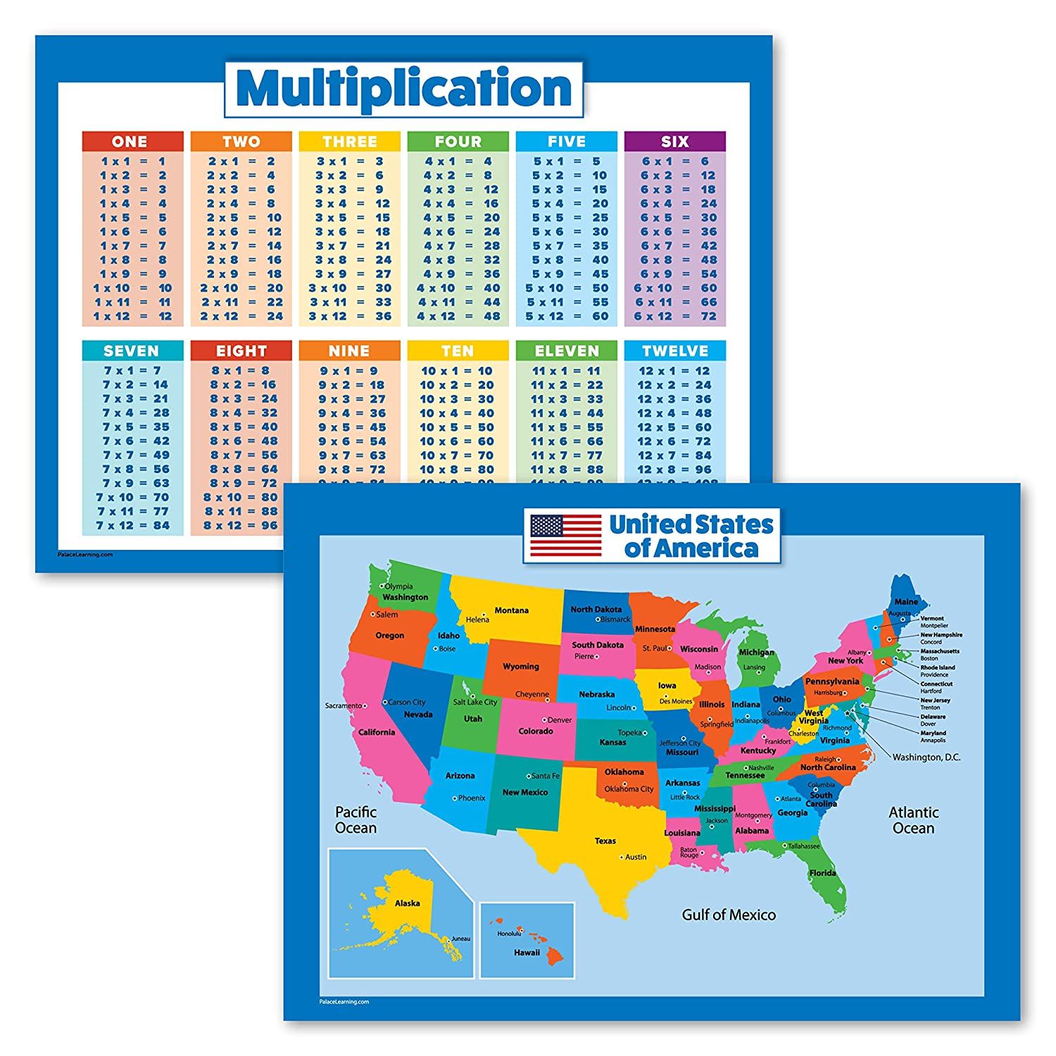 "2 Pack - Multiplication Tables & USA Map for Kids Poster Set - Wall Chart of United States of America (Laminated, 18"" x 24"") 91oTkLg0dZL"