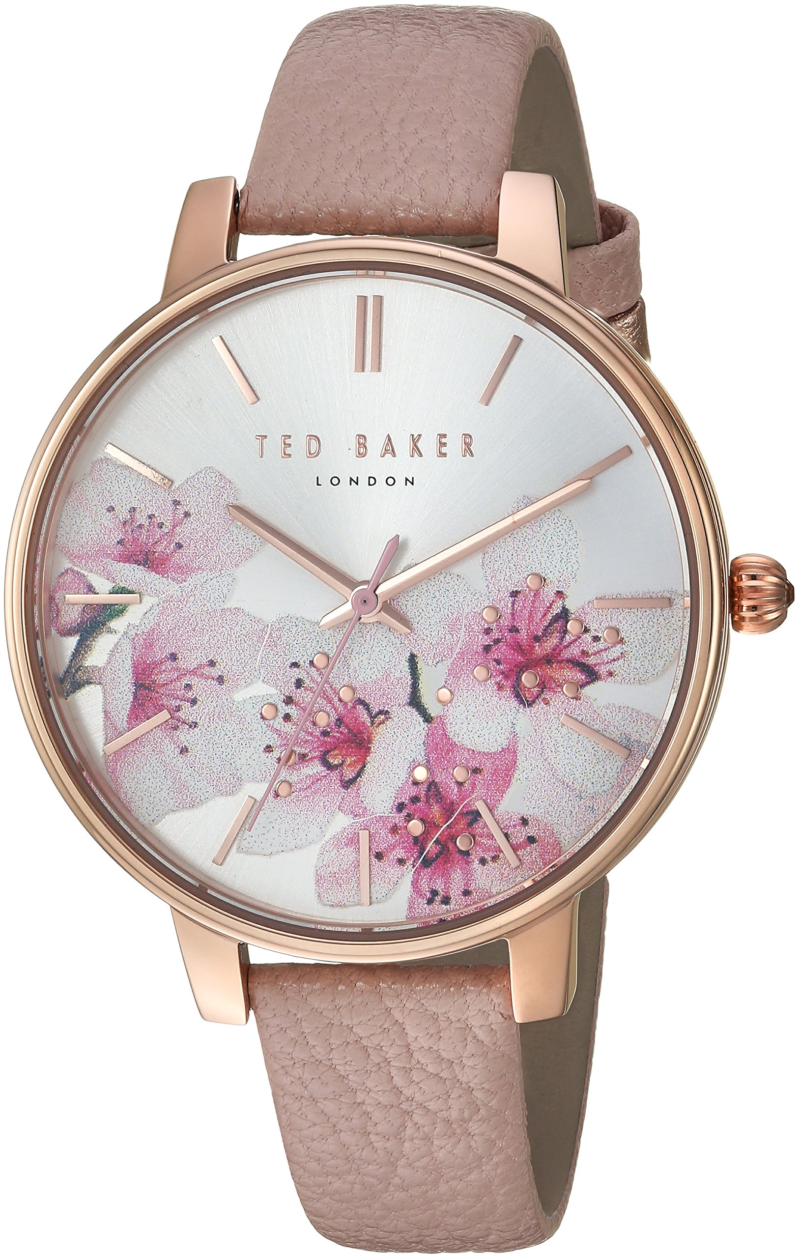 Ted Baker Women's 'KATE' Quartz Stainless Steel and Leather Casual Watch, Color:Pink (Model: TE50272004)