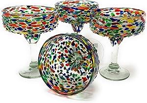 Mexican Hand Blown Glass – Set of 4 Hand Blown Margarita Glasses Confetti Rock (16 oz) …
