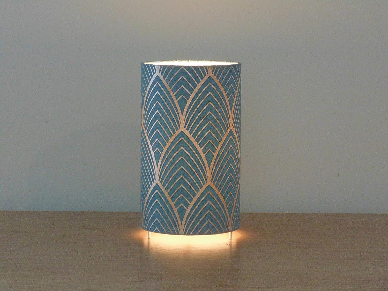 lámpara Art Deco - azul y plata - idea de regalo cumpleaños - hecho a mano - lámpara de techo - Lámparas de mesa mesilla de noche Día de la Madre