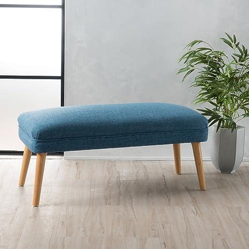 Homebeez Velvet Ottoman Round Footrest Stool, Tufted Coffee Side Table with Lightweight Storage , Medium, Navy Blue