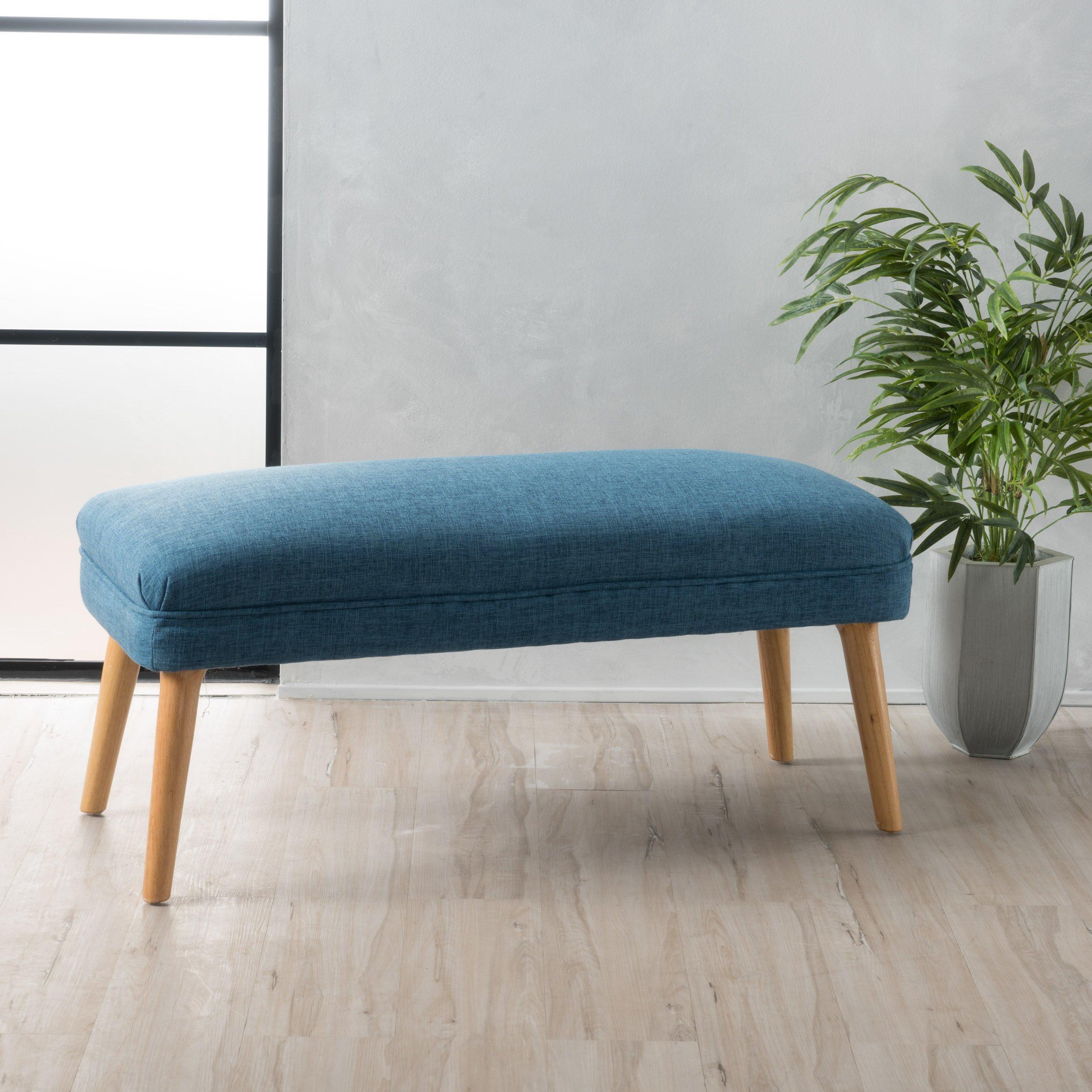 Dumont Mid Century Modern Fabric Ottoman (Blue) by GDF Studio (Image #1)