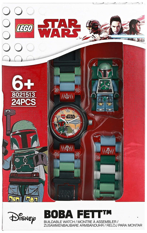 Amazon.com: LEGO Watches and Clocks Boys Star Wars Boba Fett Quartz Plastic Casual watch, Color:Blue (Model: 8021513): Watches