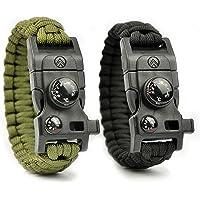 Avendu 7-in-1 Paracord Survival Armband mit Multitool, Feuerstahl, Kompass, Signalpfeife, Minimesser und Thermometer