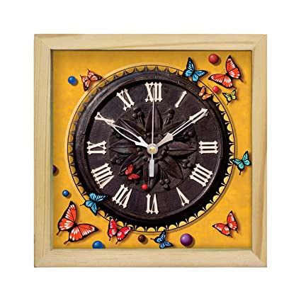 b3d8380188a3 Buy art tantra Glass and Natural Wood Frame Canvas Painting Square Shape  Wall Table Clock with Sweep Mechanism (Multicolour) Online at Low Prices in  India ...