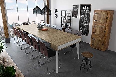 Home Innovation - Tavolo da Pranzo e Soggiorno, rettangolar, allungabile a  consolle Nordic Curve Fino 300 cm, scandinavo, Finitura Bianco Opaco/Rovere  ...