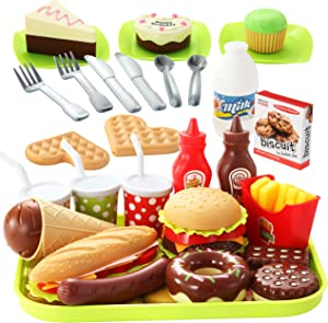 JOYIN 30 Pcs Pretend Play Food Educational Toys, Fast Food, Assorted Food and Burger Play Kitchen Toys Set