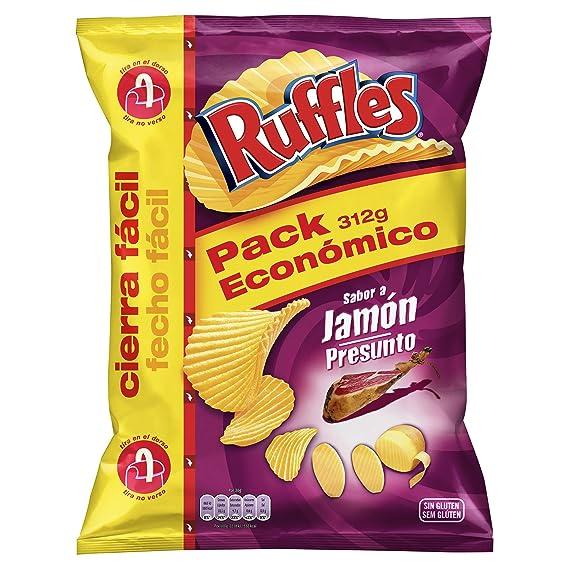 RUFFLES patatas fritas sabor a jamón onduladas bolsa 312 gr
